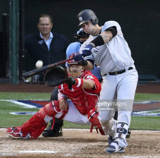 New York Yankees catcher Gary Sanchez hits a tworun home run in the fourth inning against the Los Angeles Angels at Angel Stadium in Anaheim...