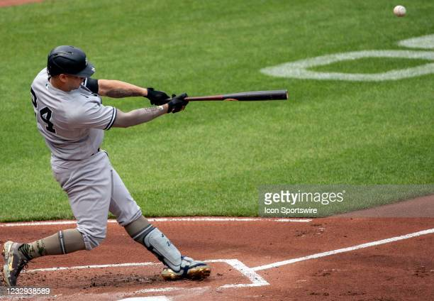 New York Yankees catcher Gary Sanchez hits for a home run in the first inning during a MLB game between the Baltimore Orioles and the New York...