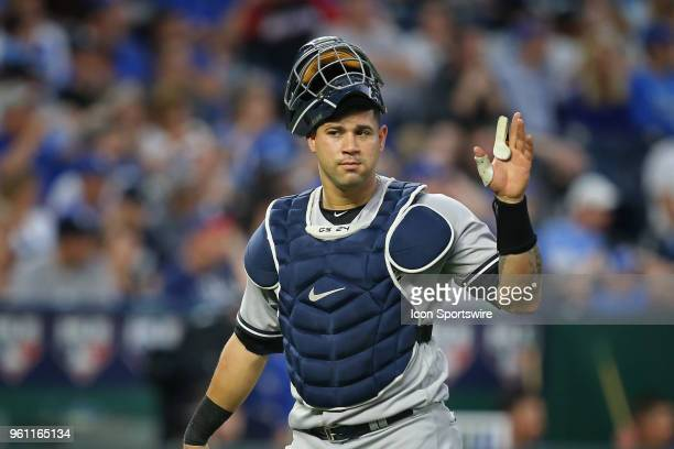 New York Yankees catcher Gary Sanchez in an MLB game between the New York Yankees and Kansas City Royals on May 19, 2018 at Kauffman Stadium in...