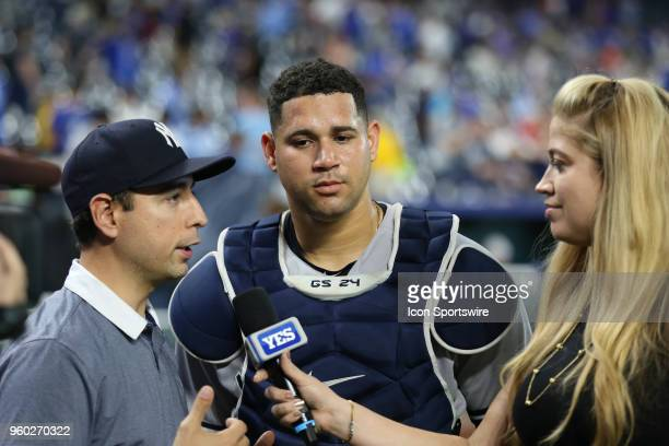 New York Yankees catcher Gary Sanchez is interviewed after his 4 for 5 performance, including two home runs, in an MLB game between the New York...