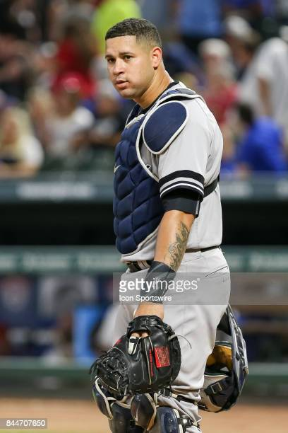 New York Yankees catcher Gary Sanchez looks over at the dugout during the MLB game between the New York Yankees and Texas Rangers on September 8 2017...