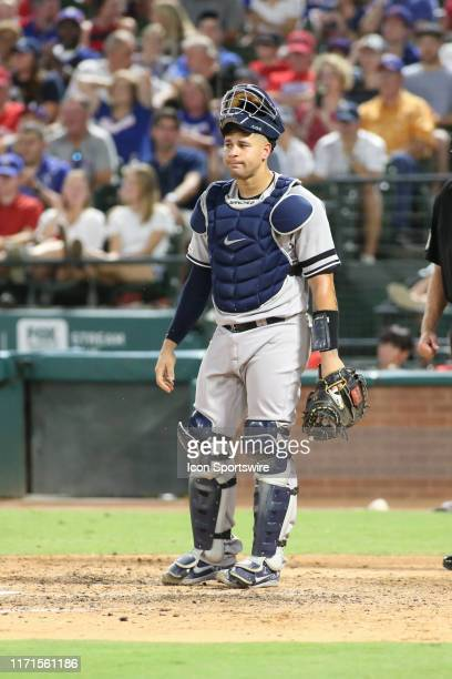 New York Yankees catcher Gary Sanchez looks over the field during the game between the Texas Rangers and New York Yankees on September 27, 2019 at...