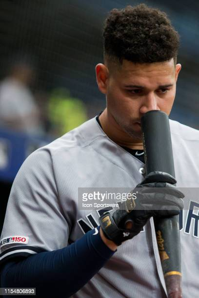 New York Yankees catcher Gary Sanchez prepares to bat during a Major League Baseball game between the New York Yankees and the Tampa Bay Rays on July...