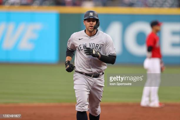 New York Yankees catcher Gary Sanchez rounds the bases as he scores on the New York Yankees second baseman Rougned Odor home run during the second...