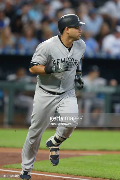 New York Yankees catcher Gary Sanchez runs after hitting a double in the first inning of an MLB game between the New York Yankees and Kansas City...