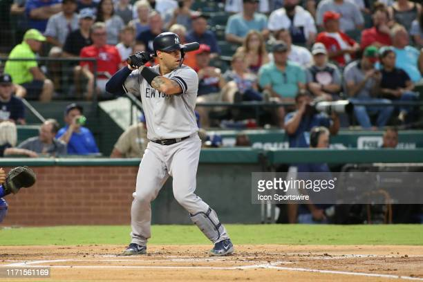 New York Yankees catcher Gary Sanchez stands in the batter's box during the game between the Texas Rangers and New York Yankees on September 27, 2019...