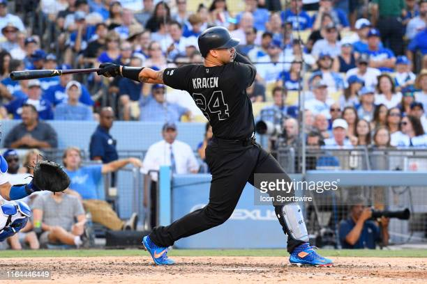 New York Yankees catcher Gary Sanchez swings at a pitch during a MLB game between the New York Yankees and the Los Angeles Dodgers on August 25, 2019...
