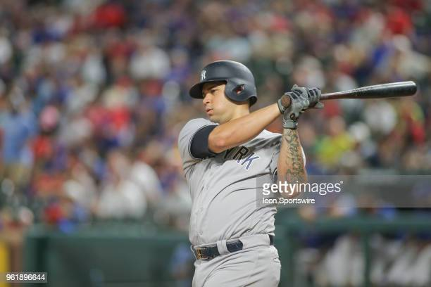 New York Yankees catcher Gary Sanchez swings the bat during the game between the New York Yankees and the Texas Rangers on May 23, 2018 at Globe Life...