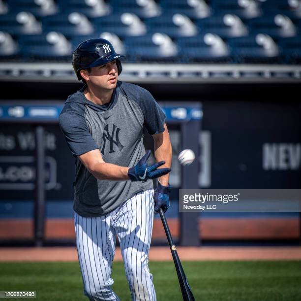 New York Yankees' catcher Kyle Higashioka preparing for batting practice during spring training in Tampa Florida on February 16 2020