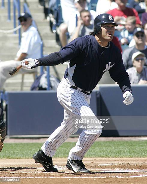 New York Yankees centerfielder Johnny Damon hits the ball deep the Pittsburgh Pirates during a spring training game on March 18 2007 at Legends Field...