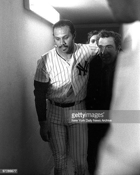 New York Yankees' Chris Chambliss looks emotionally drained as he enters clubhouse following his dramatic gamewinning home run in the bottom of the...