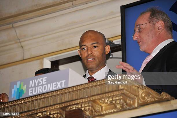 New York Yankees closing pitcher Mariano Rivera and John Halvey ring the opening bell at the New York Stock Exchange on July 18 2012 in New York City