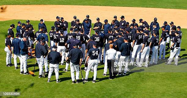 New York Yankees coach Mick Kelleher talks with the team prior to the start of the second day of full teams workouts at Spring Training on February...