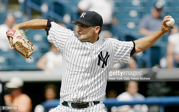 New York Yankees' Danny Borrell pitches during the first intrasquad game at Legends Field the Yanks' spring training facility in Tampa Fla