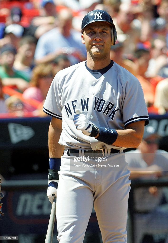 New York Yankees Derek Jeter Bites His Lip As He Strikes Out In The Fourth