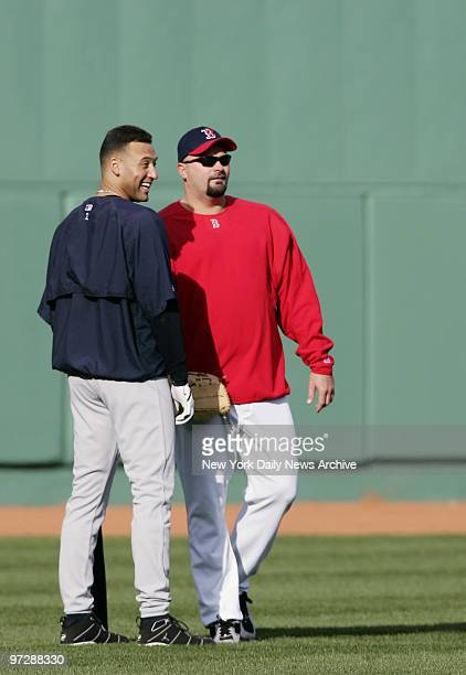 New York Yankees' Derek Jeter chats with Boston Red Sox's David Wells before a game at Fenway Park Wells was with the Yanks from 199798 and 200203