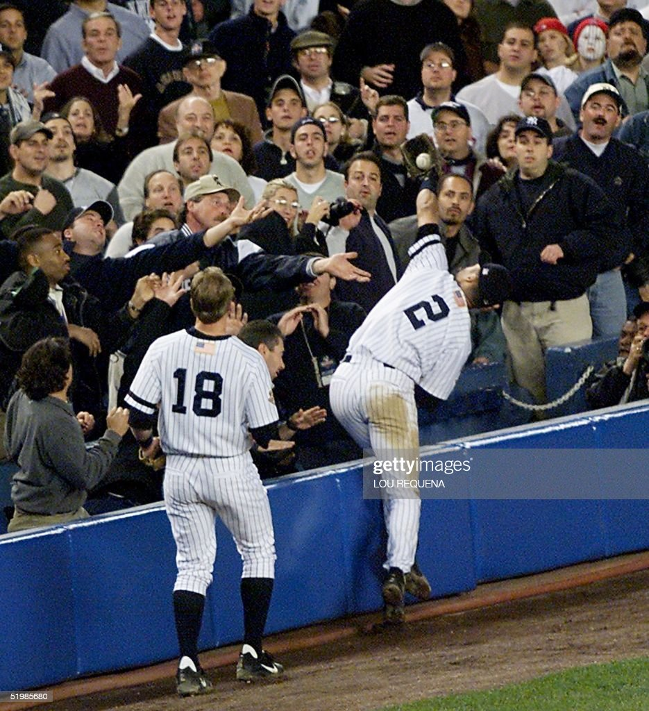 New York Yankees Derek Jeter 2 Goes Into The Fans To Catch A