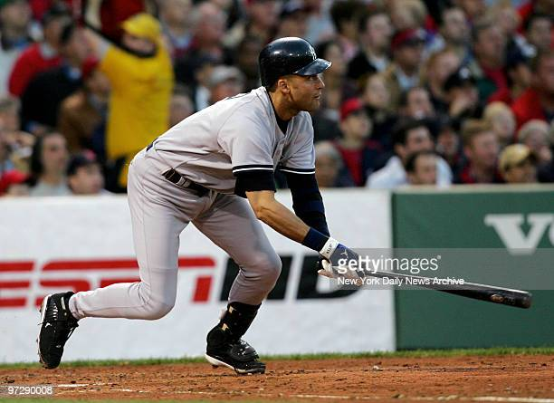 New York Yankees' Derek Jeter hits a double to deep left center to score Kelly Stinnett putting the Yanks up 42 in the second inning of game against...