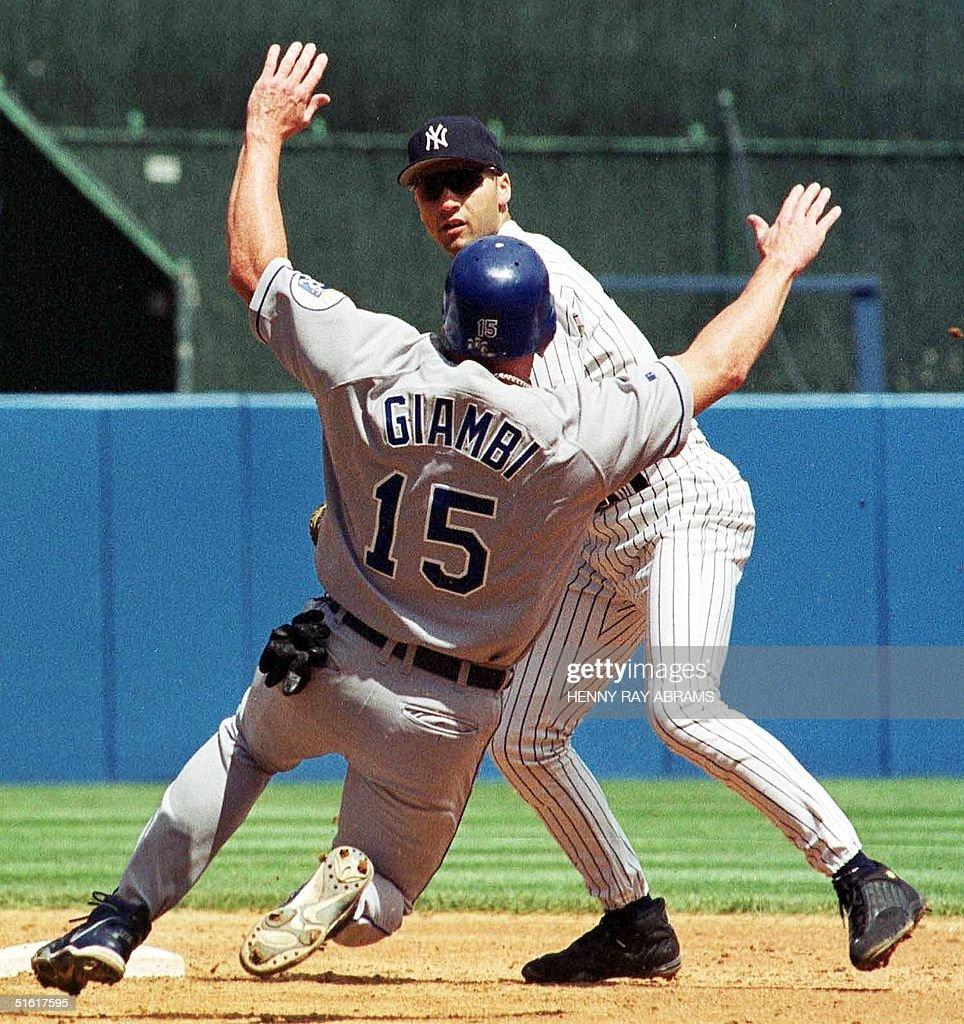 New York Yankees Derek JeterR Throws To First Base Past Kansas City