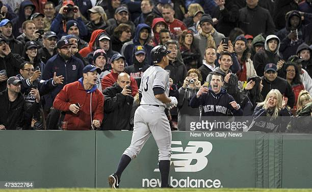 New York Yankees designated hitter Alex Rodriguez home run 8th inning New York Yankees vs Boston Red Sox at Fenway Park Boston MA Friday May 1 2015