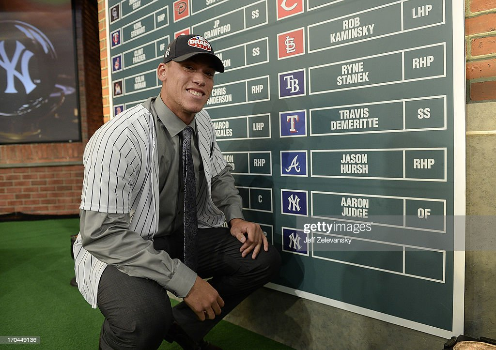 New York Yankees draftee Aaron Judge poses near the draft board at the 2013 MLB First-Year Player Draft at the MLB Network on June 6, 2013 in Secaucus, New Jersey.