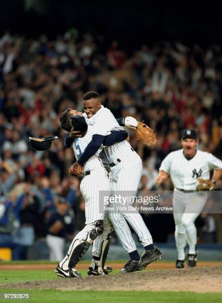 """New York Yankees' Dwight """"Doc"""" Gooden celebrates after throwing no-hitter against Seattle Mariners."""
