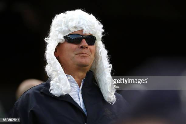 New York Yankees fan dressed as a judge looks on during Game Five of the American League Championship Series against the Houston Astros at Yankee...