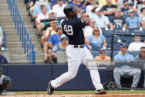 New York Yankees first baseman Chris Carter at bat during the Spring Training game between the Tampa Bay Rays and New York Yankees on March 07 at...