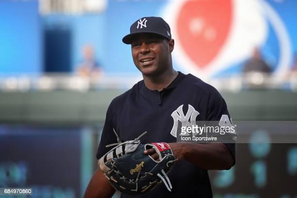 New York Yankees first baseman Chris Carter before an MLB game between the New York Yankees and Kansas City Royals on May 17 2017 at Kauffman Stadium...