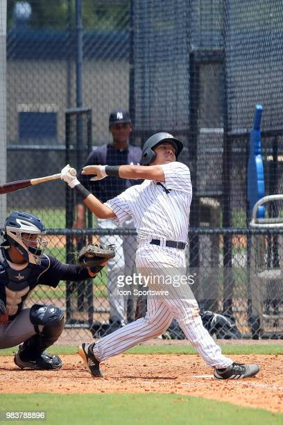2018 New York Yankees first round pick Anthony Seigler at bat during the Gulf Coast League game between the GCL Yankees East and the GCL Yankees West...