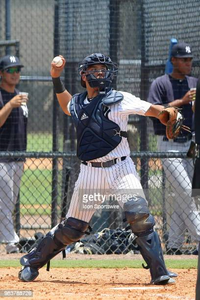 2018 New York Yankees first round pick Anthony Seigler at catcher throwing the baseball during the Gulf Coast League game between the GCL Yankees...
