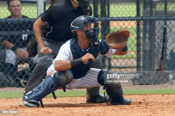 2018 New York Yankees first round pick Anthony Seigler waiting for the pitch during the Gulf Coast League game between the GCL Yankees East and the...