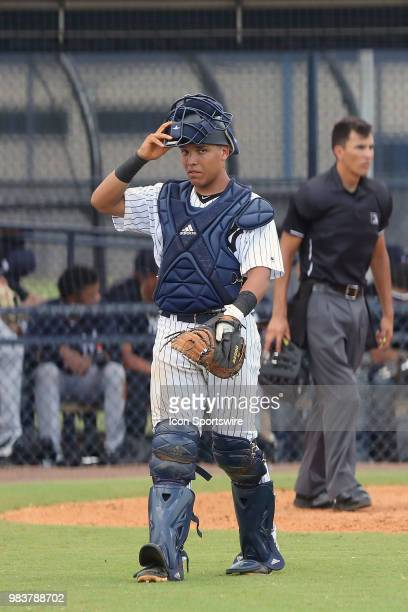 2018 New York Yankees first round pick Anthony Seigler walks back to the dugout between innings during the Gulf Coast League game between the GCL...