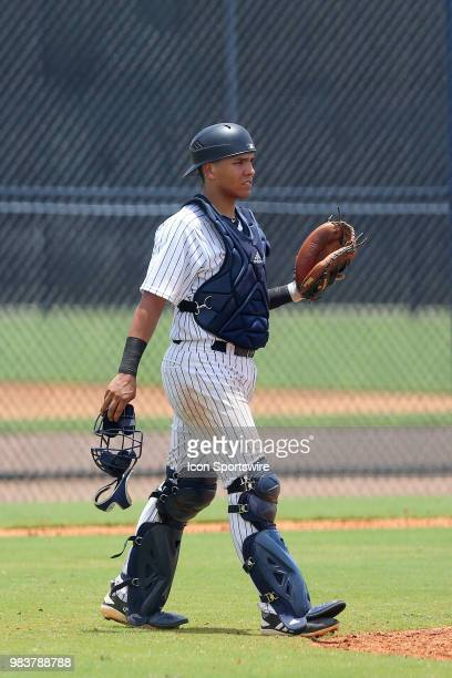 2018 New York Yankees first round pick Anthony Seigler walks out to the mound during the Gulf Coast League game between the GCL Yankees East and the...