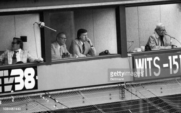 New York Yankees' General Manager Al Rosen left and club president George Steinbrenner watch YankeesRed Sox game at Fenway Park