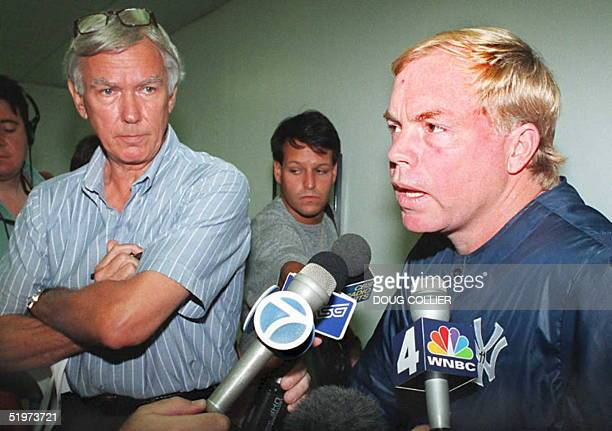New York Yankees head coach Buck Showalter takes questions from the media 05 April 1995 after General Manager Gene Michael announced the acquisition...