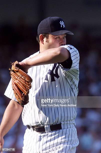 New York Yankees' Hideki Irabu is on the mound against the Cleveland Indians at Yankee Stadium Yanks won 211