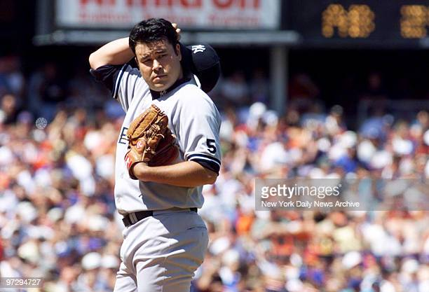 New York Yankees' Hideki Irabu on the mound during the first inning of game against New York Mets