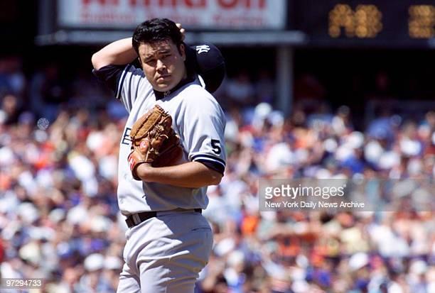 New York Yankees' Hideki Irabu on the mound during the first inning of subway series game against New York Mets