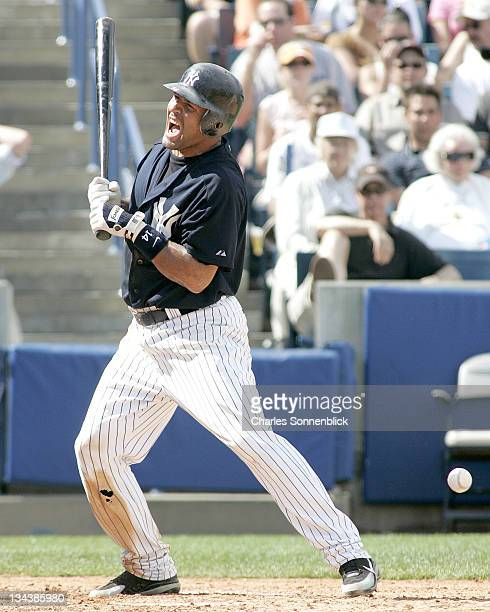 New York Yankees infielder Miguel Cairo yells in agony after being hit by a pitch in a spring training game against the Atlanta Braves Saturday March...