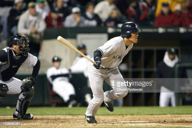 New York Yankees' Left Fielder Hideki Matsui batting during their game versus the Chicago White Sox May 16 2007 at US Cellular Field in Chicago...