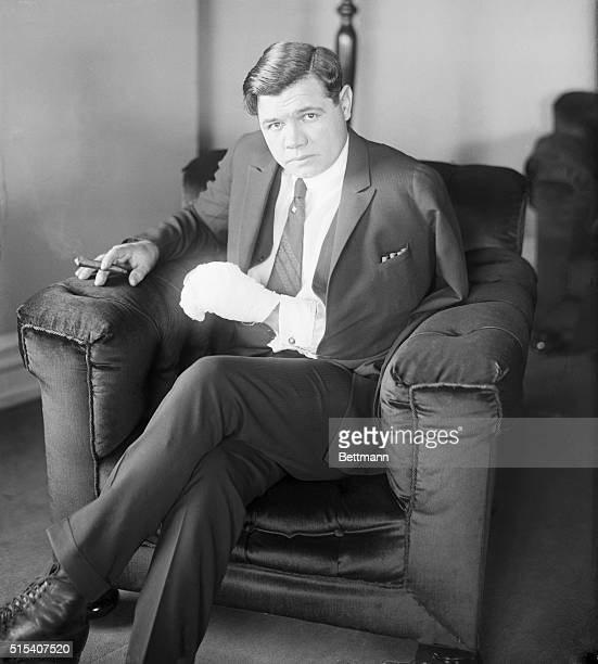 New York Yankees leftfielder Babe Ruth nurses an ulcerated hand shortly after undergoing an operation on it at St Vincent's Hospital in New York