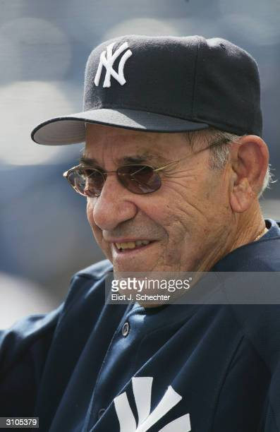 New York Yankees legend Yogi Berra before their game against the Toronto Blue Jays during Spring Training on March 6 2004 at Legends Field in Tampa...