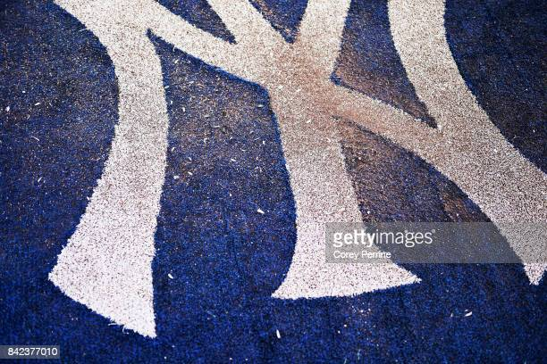 New York Yankees logo is shown in the ondeck circle before the start of the game against the Boston Red Sox at Yankee Stadium on September 1 2017 in...