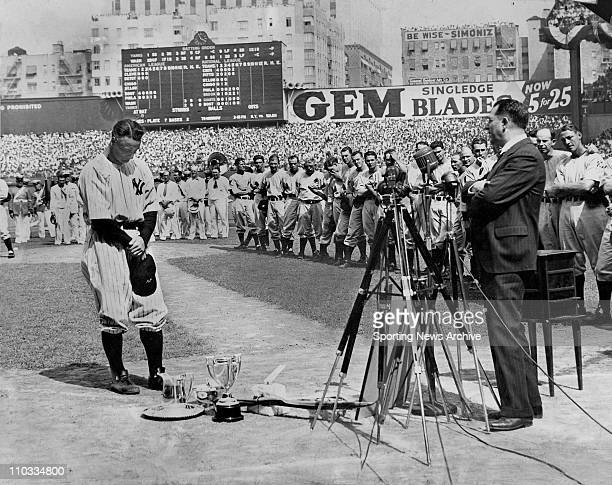 New York Yankees Lou Gehrig at his retirement ceremony on July 4 1939