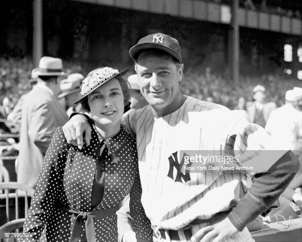 New York Yankees' Lou Gehrig with Mrs. Gehrig at Yankee Stadium before game against Washington.