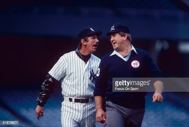 New York Yankees Manager Billy Martin argues with umpire Durwood Merrill at Yankee Stadium in Bronx New York