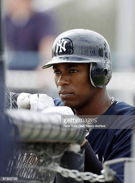 New York Yankees' minor league prospect Austin Jackson watches batting practice during spring training camp at Legends Field in Tampa Fla