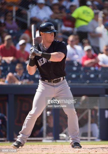 New York Yankees NonRoster Invitee Outfielder Clint Frazier bats during an MLB spring training game between the New York Yankees and the Houston...