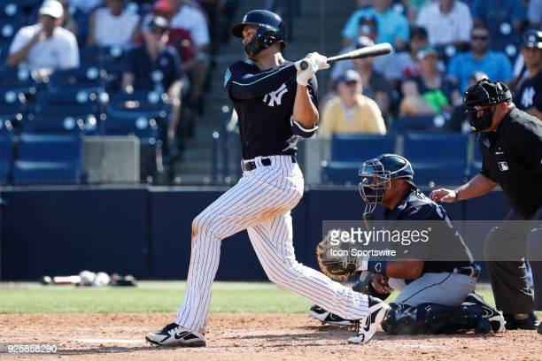 New York Yankees outfielder Giancarlo Stanton at bat during the MLB Spring training game between the Detroit Tigers and New York Yankees on February...